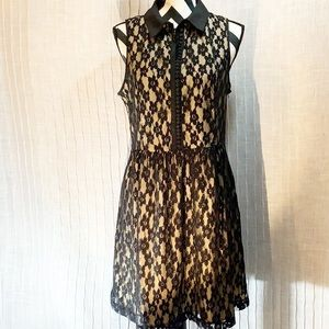 Kenzie Illusion Fit Flare Black Lace Dress Size L
